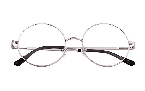 Agstum Retro Round Metal Non-Prescription Eyeglasses Frame with Spring HInge Clear Lens (Silver, (Small size) 42)