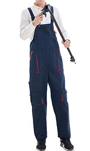 Carolilly Herren Latzhose Arbeitshosen mit Knietaschen,Forsthose Arbeitschtutzhose Made in EU,Latzhosen, Berufskleidung,Arbeitskleidung,Größen L-4XL (dunkelblau, 4XL)