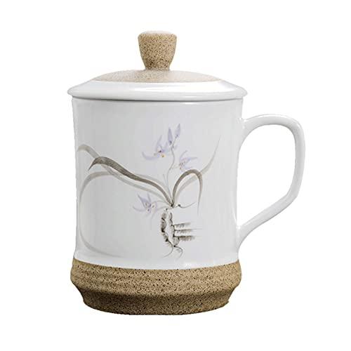 Cafe Mug Taza de cafe Juego de Tazas Taza de café, cerámica Mugwith Tapa y mango, blanco 1 paquete de taza de té para oficina y hogar, adecuado para lavavajillas y microondas tazas de café Tazas de t