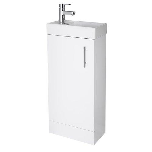 Premier NVX192 400 mm minimalistisch volledig staande eenheid en wastafel, glanzend, wit