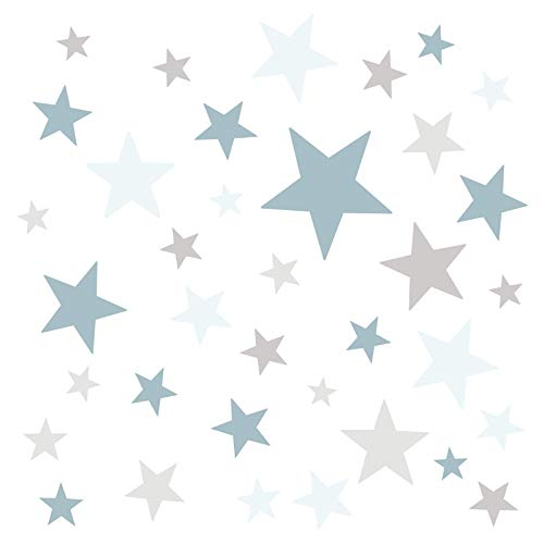 Little Deco DL403 Adhesivos decorativos para pared, en diseño de estrellas, color azul, gris claro, 60 estrellas, para el dormitorio, autoadhesivos