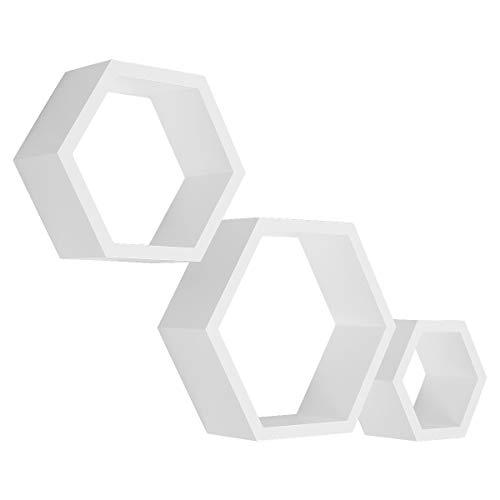 Meerveil Wandregal 3er Set sechseckig Schweberegal hexagonal Hängeregal Wandboard Bücherregal 29,5cm/24cm/18cm, Tiefe 10cm, weiß