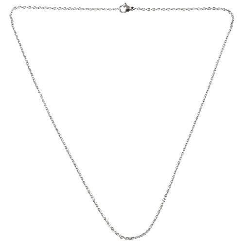 Luntus Cadena de Mujer de joyeria, O Collar de Acero Inoxidable, Plata - 2 mm de Ancho - 50 cm de Longitud