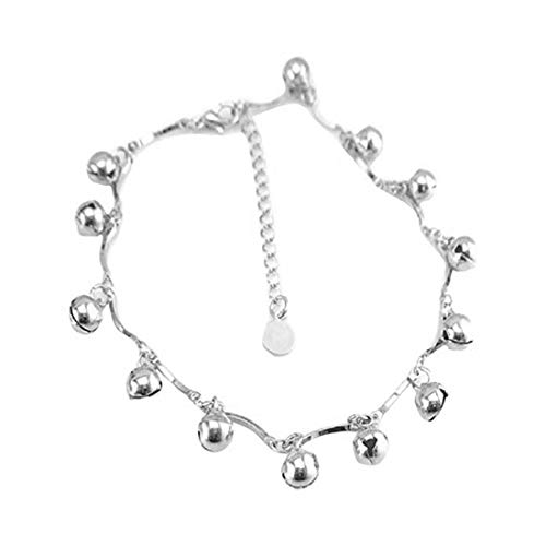Runsmooth Ankle Bracelet with Bell for Women 925 Sterling Silver Charm Adjustable Anklet Beach Anklet Foot Jewelry 925 Sterling Silver Bells
