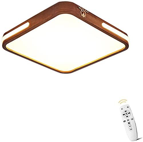 Luz de techo ultra delgada LED Moderna Moderna Simple Solid Wood Dimmable Control Remoto Lámpara de techo Lámpara Lámpara Lámpara de Dormitorio Lámpara Tallada Lámpara Luminaria (SB-R-50 CM) LJMYQL