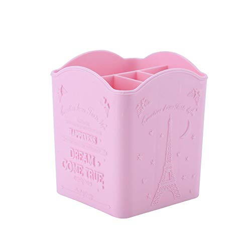 Lv. life Boîte de Rangement Papeterie Cosmétique Manucure Outils Conteneur avec Tour Eiffel Imprimer 3 Couleurs(Rose)