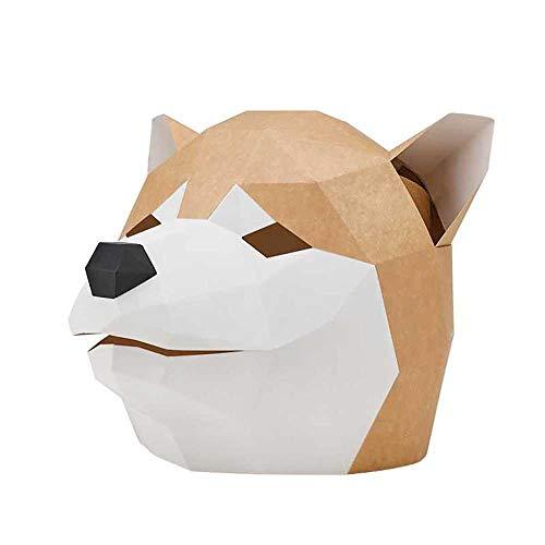 DongLe Máscara de Perro Cabeza de Animal DIY 3D Papercraft Cosplay Traje de la...