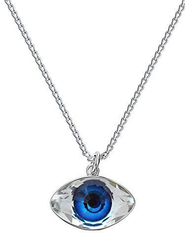 Crystals & Stones – occhio – colore blu – Collana da donna con cristalli Swarovski – Argento 925 bella collana da donna con catena in argento