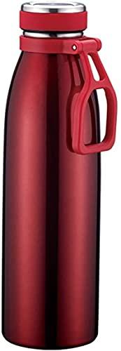 PXY Botella de Agua Roja de 750 Ml, Acero Inoxidable 304, Preservación Del Calor Y Del Frío Las 24 Horas, Botella de Agua Portátil a Prueba de Fugas, Exterior, Viajes, Gimnasio Y Oficina para Hombres