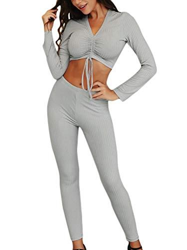 Minetom Damen Yoga Trainingsanzüge Sportanzug Sexy Langarm Crop Shirt und Hosen 2 Stücke Leggings Tights Stretch Sporthose Workout Gym Fitness Jogging Anzug D Grau 34