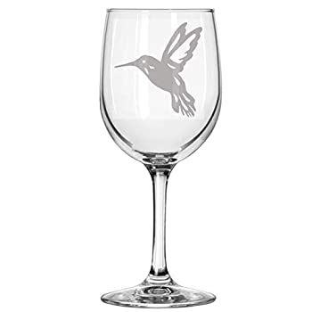 Alankathy Mugs Humming bird flying animal wine glass  11 OZ WINE GLASS
