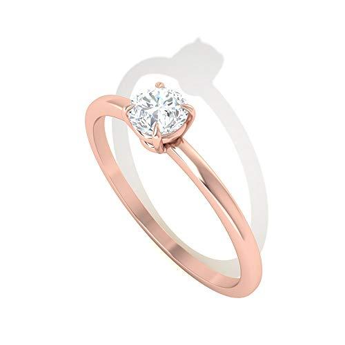 0,5 Karat Diamant IGI zertifizierter Verlobungsring, Klassische Frauen Statement Arbeitskleidung Ring, HI-SI Farbe Klarheit Solitär Diamant Ring, Jahrestag Versprechen Ri, 14K Roségold, Size:EU 49