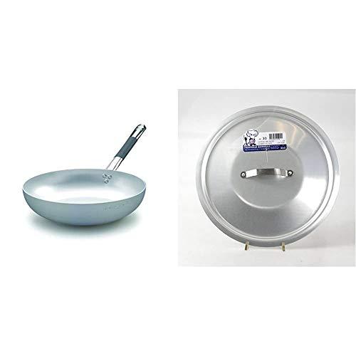 Pentole Agnelli ALMC111BPIC28 Linea Alluminio Induzione Padella Svasata Alta & Agnelli ALMA12928 Coperchio Rotondo Pesante con Ponticello, Alluminio Professionale 3 mm, 28 cm