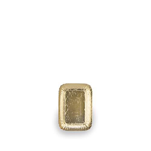 VIRSUS Vassoio/Navetta in Cartone di Colore Oro per Pasticceria Disponibile in Confezione da 10 kg – Formato 14,5x22,5cm Misura 2 – Vassoi Monouso per Dolci, Pasticcini, Torte, Pizzette e Cibi Cotti