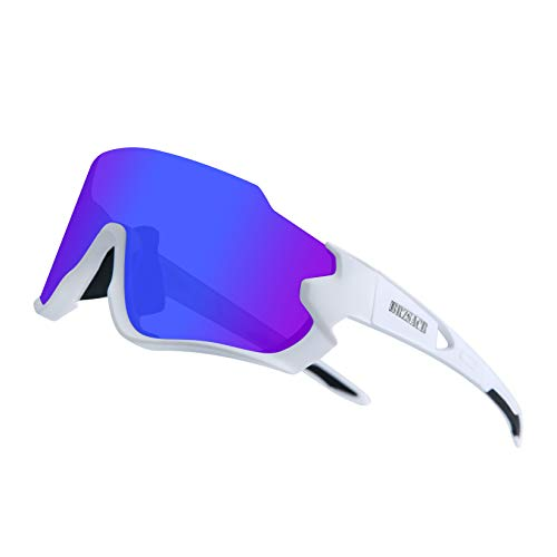 BRZSACR Gafas de ciclismo polarizadas, 3 lentes extra intercambiables en estuche para gafas, Gafas de béisbol ultraligeras anticaídas para hombres y mujeres, para correr, conducir, pescar, golf