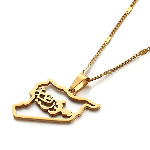 QDGERWGY Collares Pendientes de Mapa de Siria de Color Dorado de Acero Inoxidable joyería de Cadena de Mapa de sirios