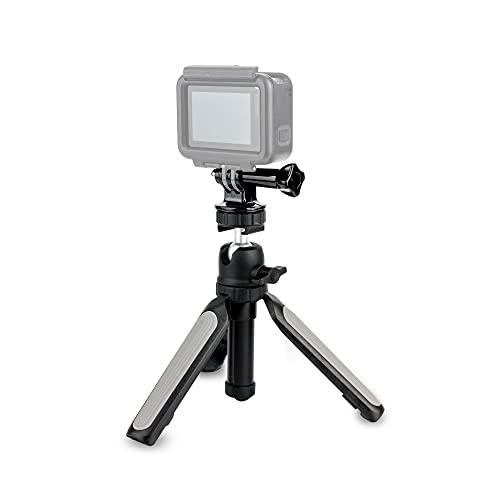 KIWIFOTOS 3 en 1 empuñadura telescópica y mini trípode de viaje de mesa con clip para teléfono y soporte GoPro para agarre de mano Gopro, cámaras compactas, agarre para teléfono selfie