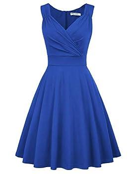 GRACE KARIN Women s 1960s Vintage Dress V-Neck Swing Dress Size M Blue CL698-6