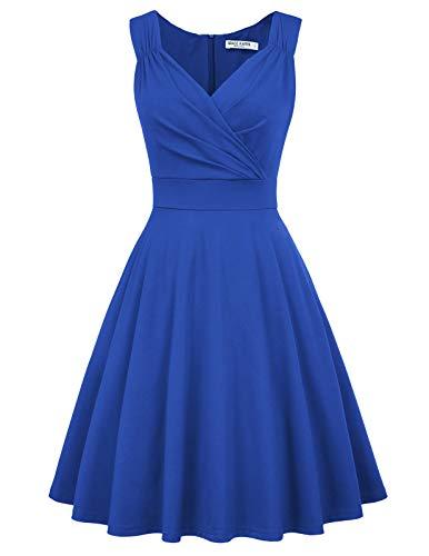 GRACE KARIN Women's 1960s Vintage Dress V-Neck Swing Dress Size M Blue CL698-6