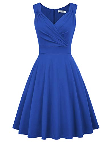 GRACE KARIN Women's Retro V-Neck Pinup Evening Party Dress Size L Blue CL698-6