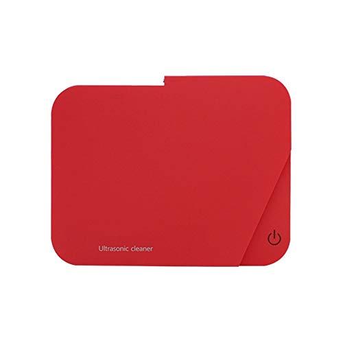ADELALILI Ultraschall-Reinigung Schmuck Box Kleine Waschmaschine Reinigung Schmuck Automatische Abschaltung Schutz for Schmuck Gebiss Brille beobachten (Color : Rot)
