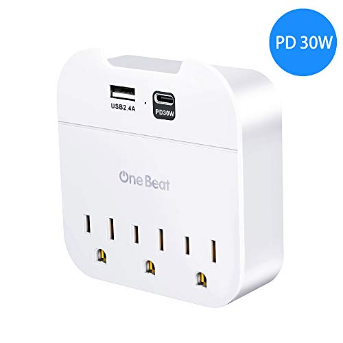 USB C PD Wall Charger, 42W Fast Charging Multi Plug Outlet Extender with 3 Outlets, One 30W Power Delivery Port for iPhone 11/11 Pro/Max/XS/XR, iPad Pro, MacBook 12', One 12W USB-A for S10/S9 and More