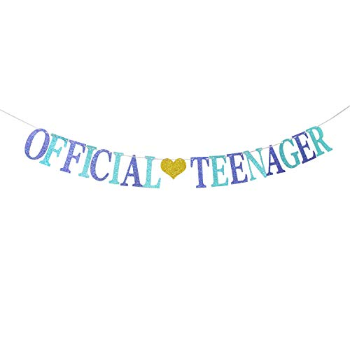Glitter Official Teenager Banner for 13th Birthday Party Decorations, Happy 13th Birthday, Cheers to 13 Years Old Party Decoration Supplies