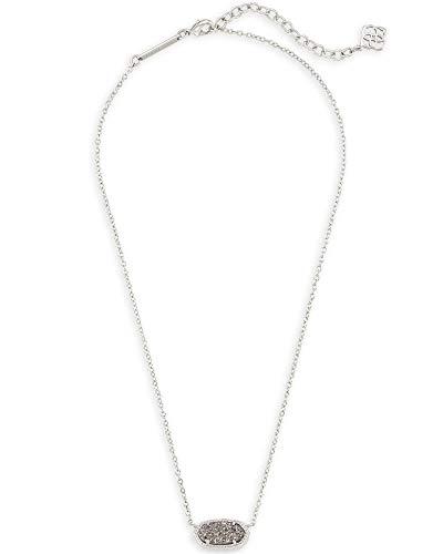Kendra Scott Elisa Pendant Necklace for Women, Fashion Jewelry, Rhodium-Plated, Platinum Drusy