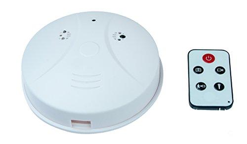KOBERT GOODS Getarnte Überwachungs-Kamera SM01 Decken Tarnung Rauchmelder-Attrappe mit 2 Megapixel Mini-Kamera 1280x960p für Foto Ton & Video-Aufnahmen inkl Bewegungs-Erkennung und Fernbedienung
