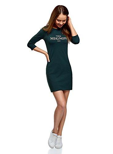 oodji Ultra Damen Jerseykleid mit Druck, Grün, DE 38 / EU 40 / M