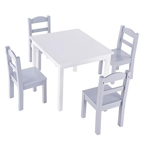 PHH Conjunto de Mesa y Silla de niños Blanco y Gris (1 Mesa y 4 sillas) Envío de Gota de almacén de los EE. UU.