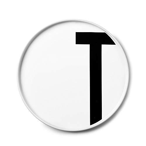 Design Letters Assiette Personnalisée en Blanc Porcelaine Fine de A-Z - T – Assiette Decorative, Idéal décorer, comme Cadeau Personnel, ou pour Les Repas, Compatible Lave-Vaisselle, D: 20cm