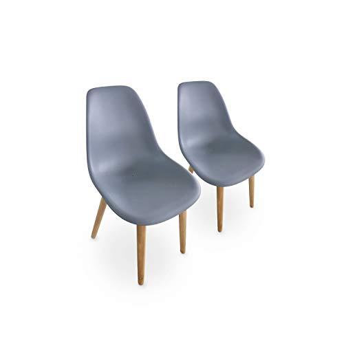 Alice's Garden Juego de 2 sillas PENIDA escandinavas, en Madera de Acacia y Resina Inyectada de Antracita, de Interior/Exterior