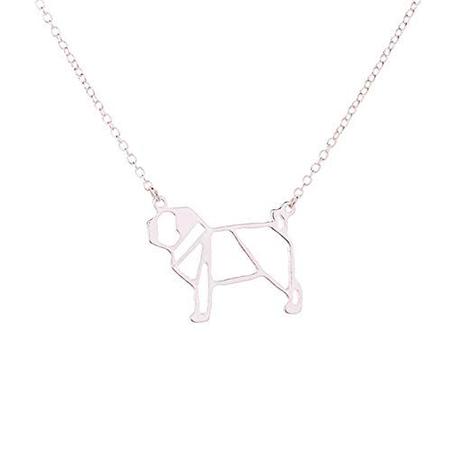 FEELHH Collar De Cadena De Clavícula,Clavícula Collar De Cadena,Pug Origami De Moda Collar De Plata Joyas Geométricas Envío Lindo Perro Hueco para Regalo Collar Colgante Niña