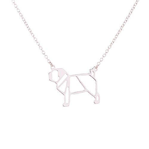 FEELHH Collar De Cadena De Clavícula,Clavícula Collar De Cadena,Pug Origami De Moda Collar De...