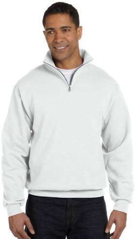 Jerzees Men s NuBlend 1 4 Zip Cadet Collar Sweatshirt Wht Large product image