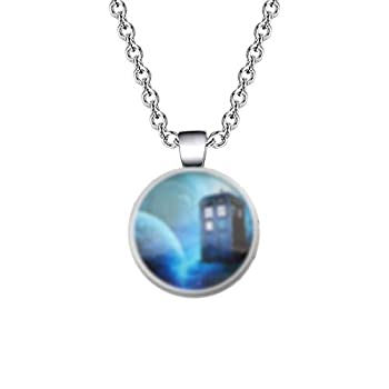 UJIMS Tardis Pendant Necklace for BFF Fans Doctor Who Inspired Jewelry Police Box Charm Gift Movie Quote Earrings Jewelry  Doctor Who Pendant Necklace