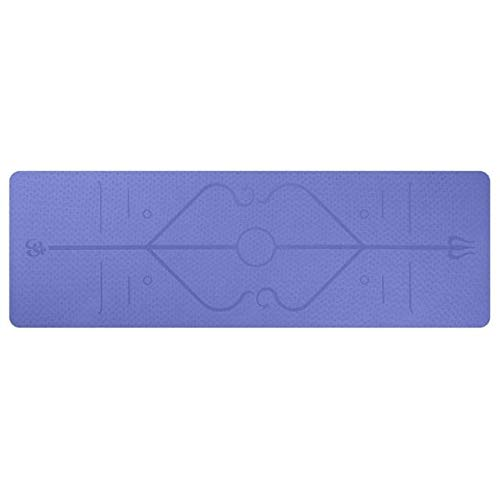 Esterilla de yoga de doble capa de postura de la línea de yoga Mat Fitness Mat 1830*610*6Mm línea de posicionamiento antideslizante Deportes Mat-Violeta