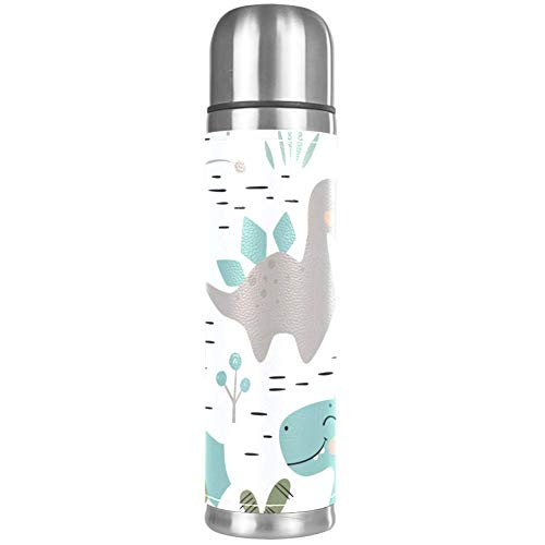 Stainless Steel Leather Vacuum Insulated Mug Dinosaur Baby Boy Thermos Water Bottle For Hot And Cold Drinks Kids Adults 16 Oz