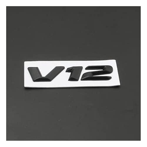 Emblema, 1 Unids 3D Metal Coche Emblema Emblema V8 V12 STYLING CAIL TAPA EMBLEM BADGE PEQUEÑA PEQUEÑA COMPATIBLE CON BENZ AMG BMW MAZDA CHEVROLET SKODA FORD OPEL AUDI VOLVO,Black v12 stickers