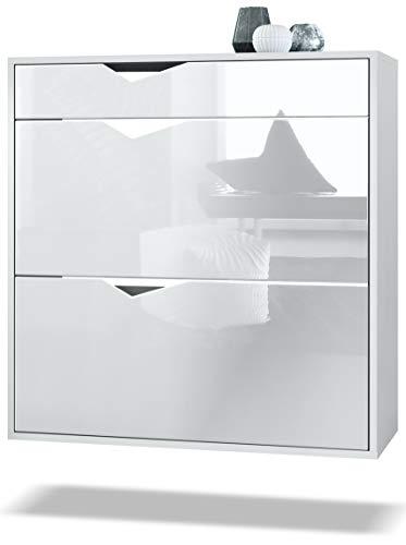 Zapatero Kolmio 85 x 87 x 33 cm, Cuerpo en Blanco Mate, frentes en Blanco de Alto Brillo | Amplia selección de Colores