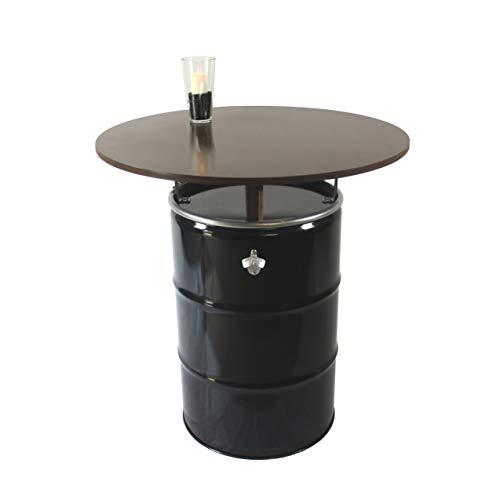 Rogge´s RelaxGrill Stehtisch – bestehend aus 210L Ölfass und runder Holz-Tischplatte