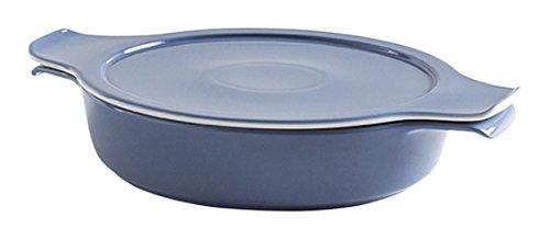 Eschenbach Porzellan Group Cook & Serve Schale mit Deckel 0, 30 l/ 16 cm Kochtopf aus Porzellan, Grau-blau, 2-Einheiten