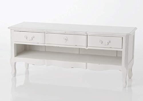 Meuble TV avec 3 tiroirs Harmonie en bois, hauteur 120 cm, Amadeus
