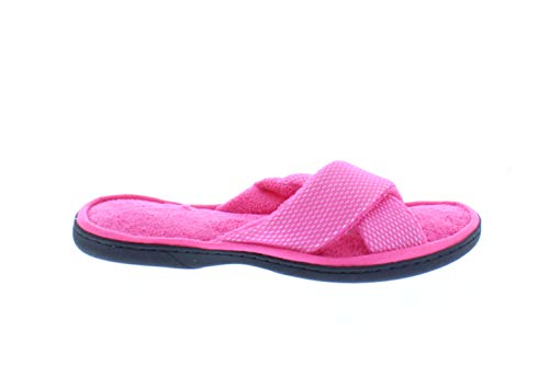 Pandora Womens Memory Foam Flip Flop Slippers,Criss Cross Fur Slide Slipper,House Sandals,Home Flip Flops (L, Fuschia) (L, Fuschia)