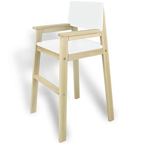 Madyes kinderstoel hoge stoel massief hout beuken & wit. Modern design. Trapstoel beuken voor eettafel, kinderhoge stoel voor kinderen, stabiel en onderhoudsvriendelijk, vele kleuren mogelijk
