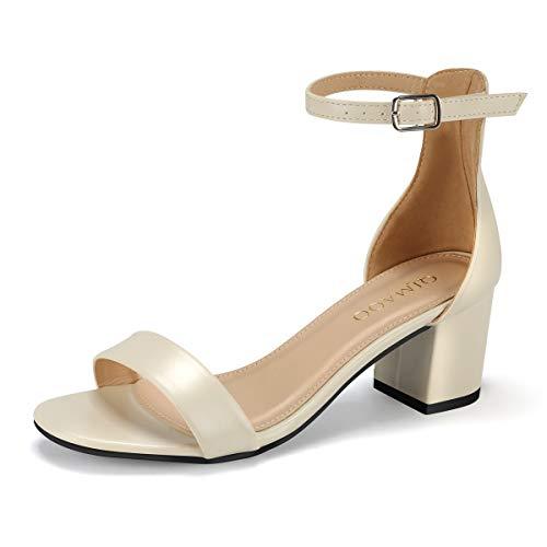 Qimaoo Dames Riemsandalen 6 cm blokhak sandalen enkelriem Sandaletten zomer High Heels schoenen gouden hak, zwart, zilver, wijnrood, Nude Pumps