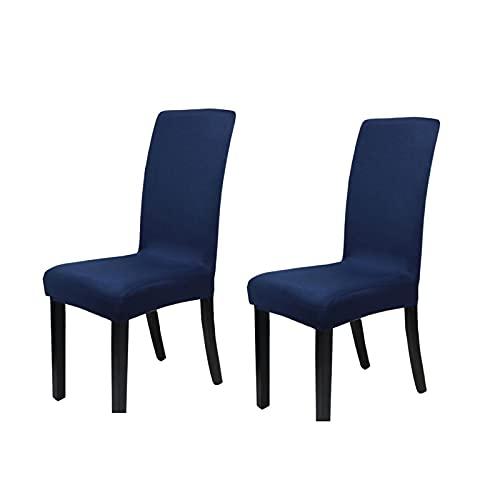 Stuhlbezug, Stretch-Stuhlbezug, Elastischer Moderner Bezug, Spandex, Stretchbezug, Stuhlbezug, Stuhlbezug, Bi-Elastischer Stretchbezug, Sehr Pflegeleicht Und Langlebig, Universell 2-Teilig, Dunkelgrau,Blau