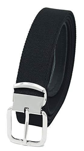 Xeira Hochwertiger Elastik- Stoffgürtel Schwarz mit Leder Endstück