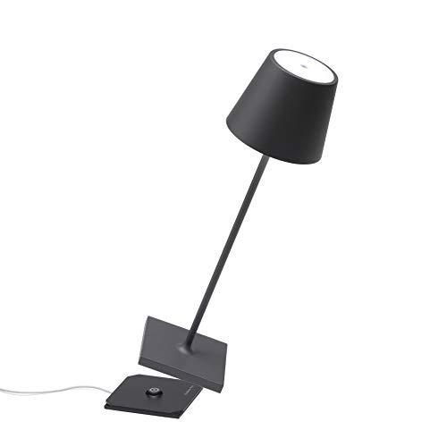 Zafferano Poldina Pro-Lámpara LED de Mesa Regulable de Aluminio, Protección IP54, Uso en Interiores y Exteriores, Estación de Carga de Contacto, Altura 38 cm, Enchufe de la UE, Gris Oscuro